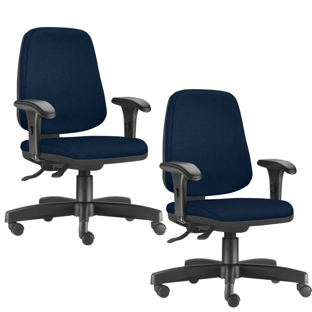 Kit 02 Cadeiras Giratórias Job L02 Diretor Executiva Crepe Azul Marinho - Lyam Decor