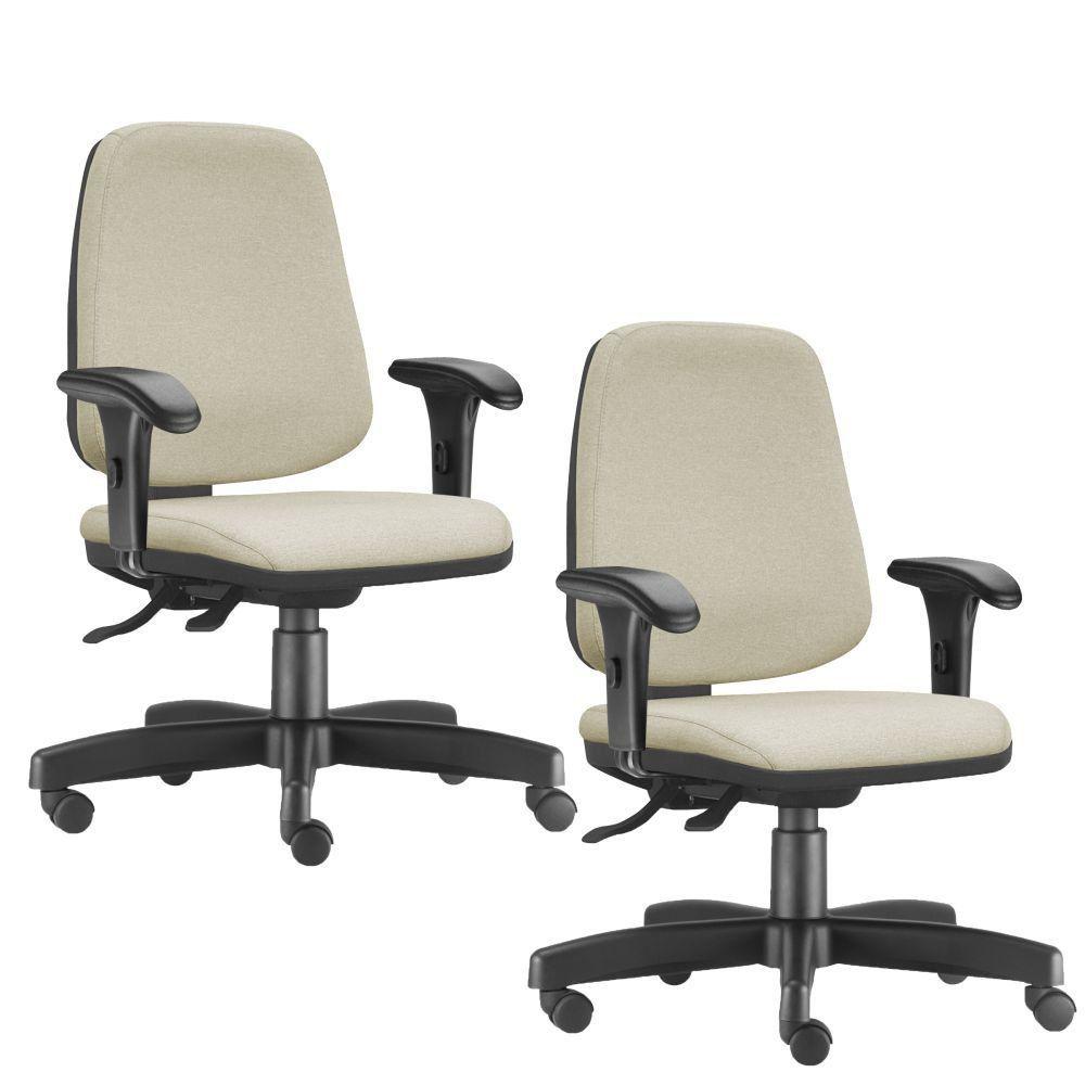 Kit 02 Cadeiras Giratórias Job L02 Diretor Executiva Suede Bege - Lyam Decor