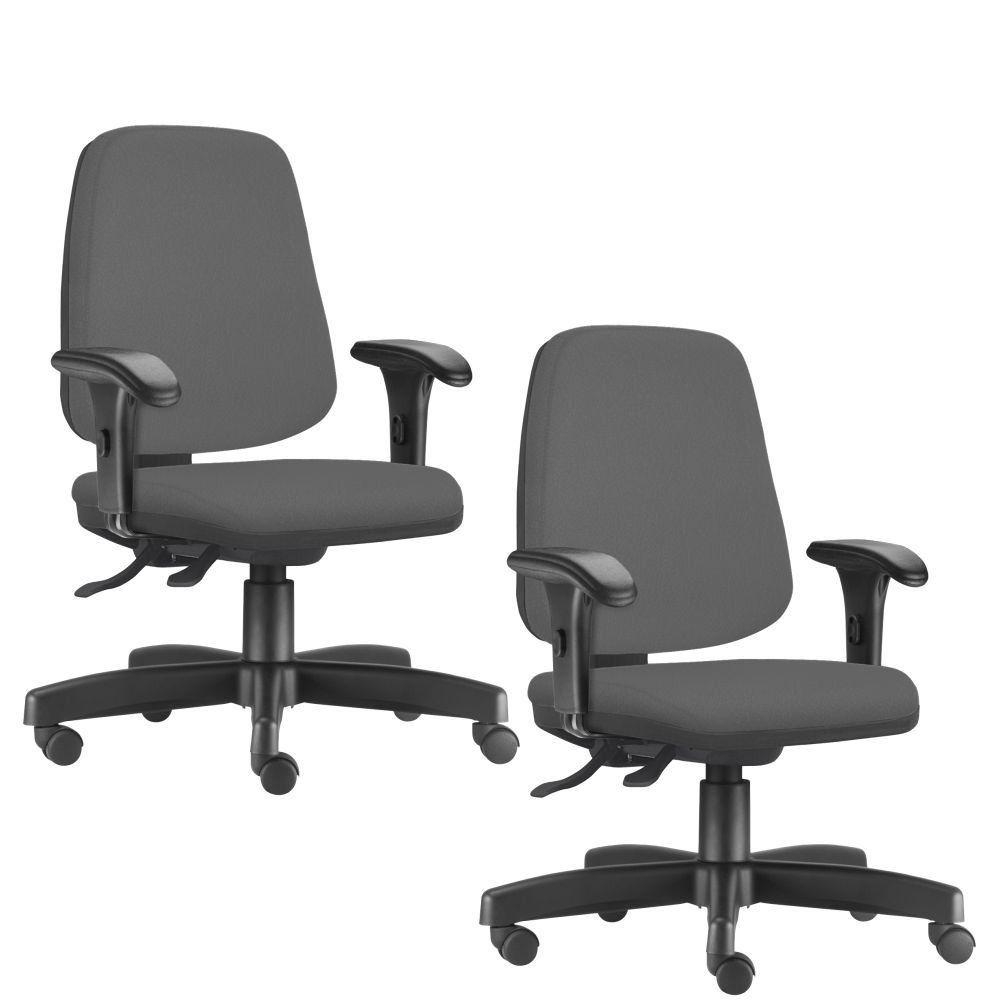 Kit 02 Cadeiras Giratórias Job L02 Diretor Executiva Crepe Cinza - Lyam Decor