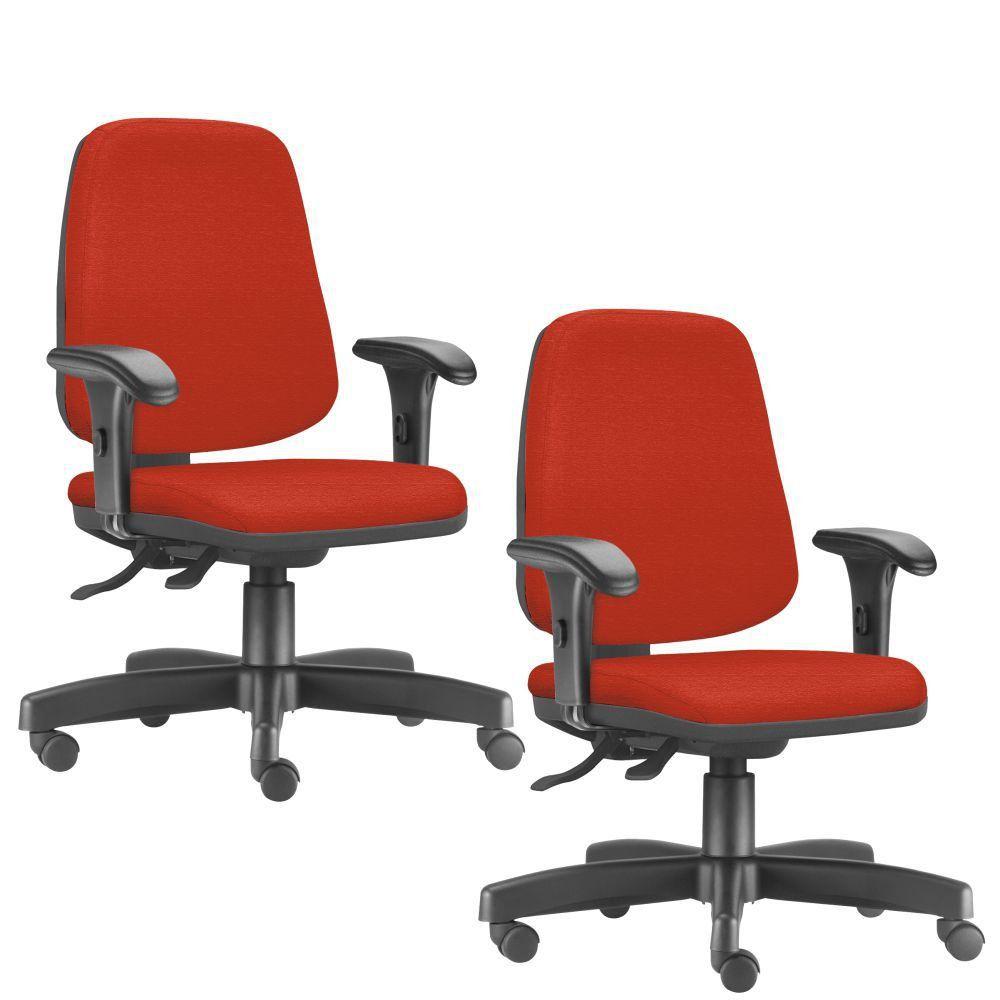 Kit 02 Cadeiras Giratórias Job L02 Diretor Executiva Suede Laranja - Lyam Decor