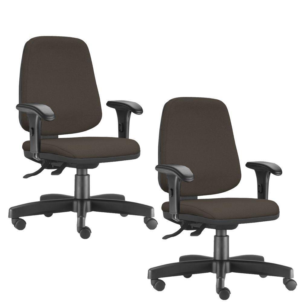 Kit 02 Cadeiras Giratórias Job L02 Diretor Executiva Suede Marrom - Lyam Decor