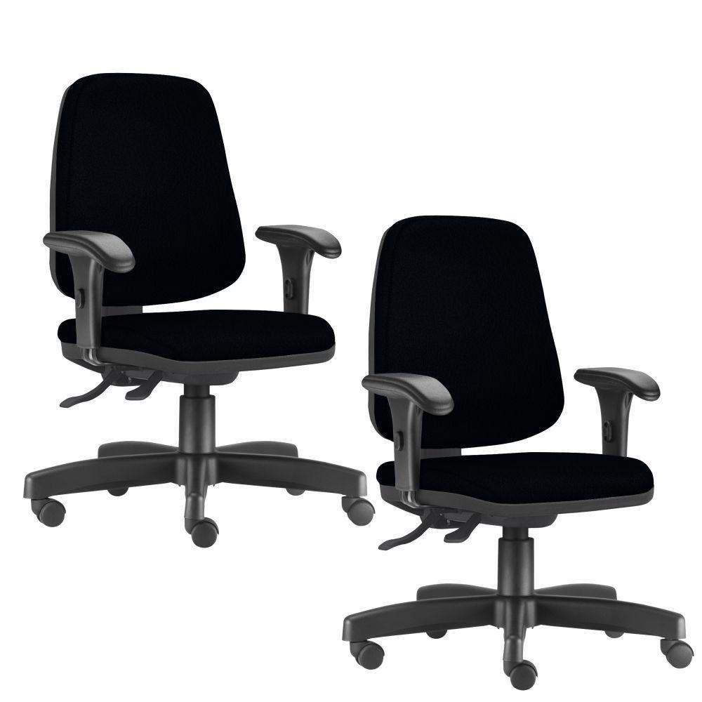Kit 02 Cadeiras Giratórias Job L02 Diretor Executiva Crepe Preto - Lyam Decor