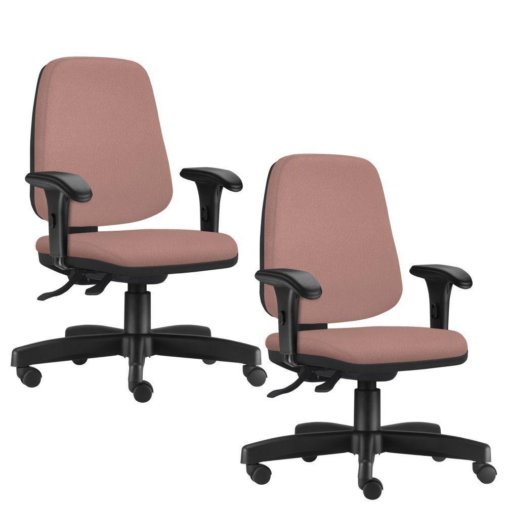 Kit 02 Cadeiras Giratórias Job L02 Diretor Executiva Suede Rosê - Lyam Decor