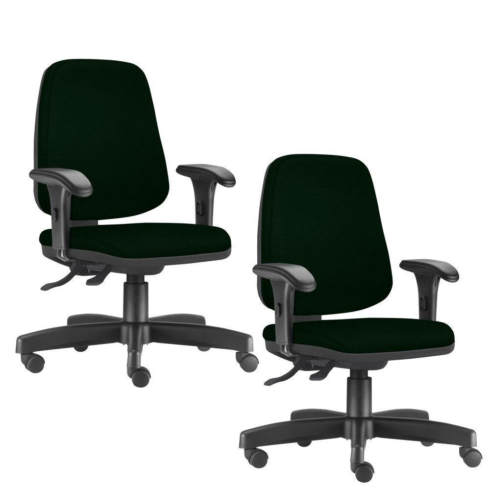 Kit 02 Cadeiras Giratórias Job L02 Diretor Executiva Crepe Verde Musgo - Lyam Decor