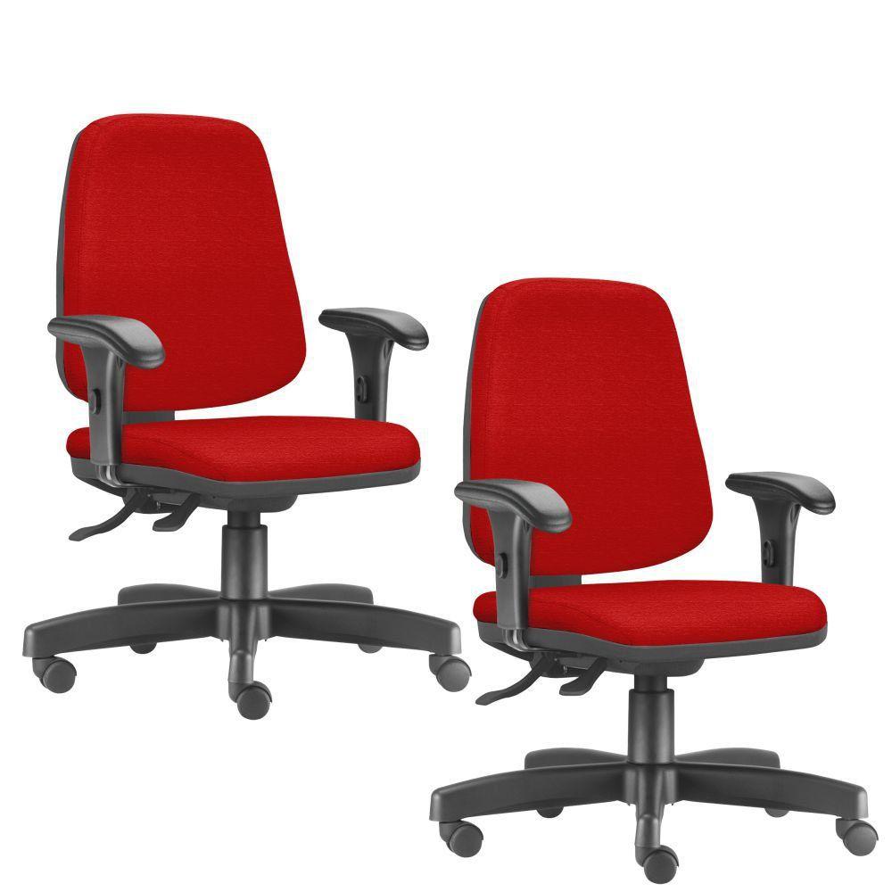 Kit 02 Cadeiras Giratórias Job L02 Diretor Executiva Suede Vermelho - Lyam Decor