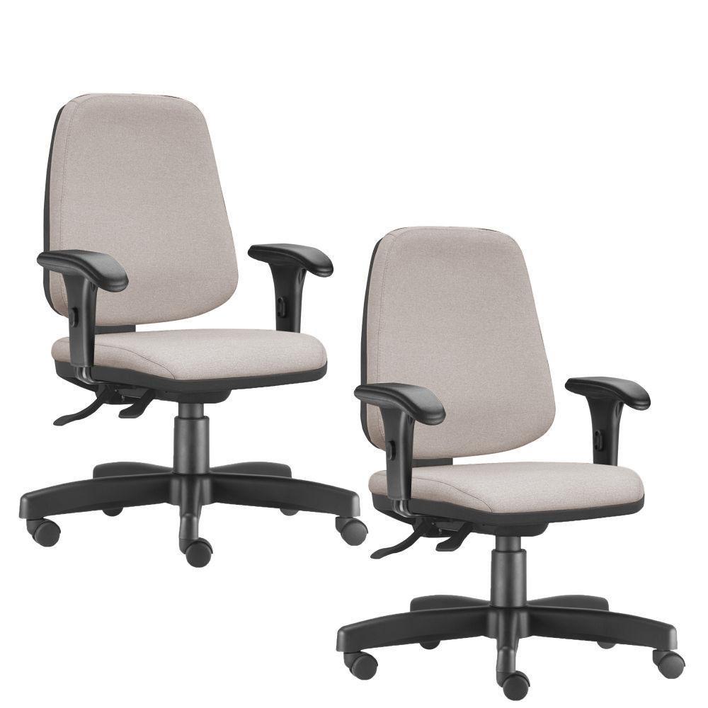 Kit 02 Cadeiras Giratórias Job L02 Diretor Executiva Linho Bege - Lyam Decor