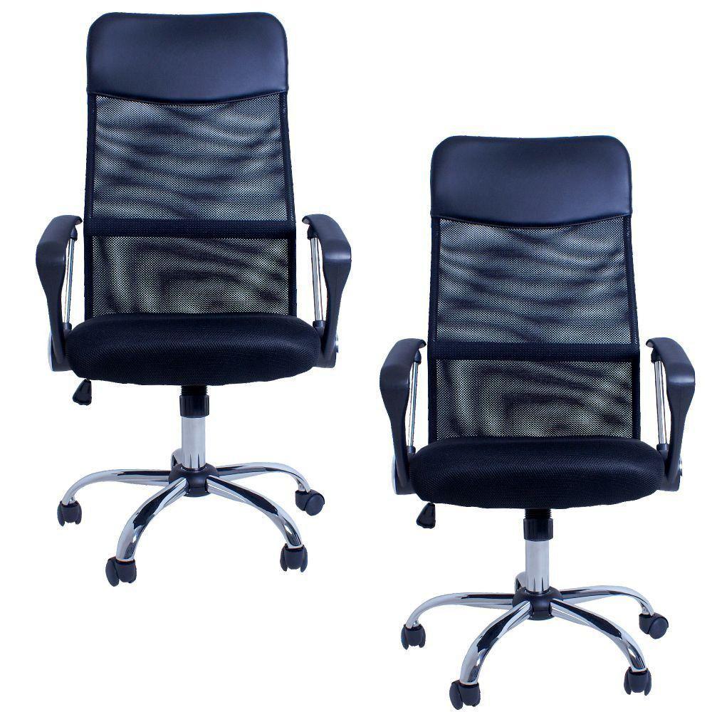 Kit 02 Cadeiras Giratórias Para Escritório Excellence Office F03 Preto- Lyam Decor