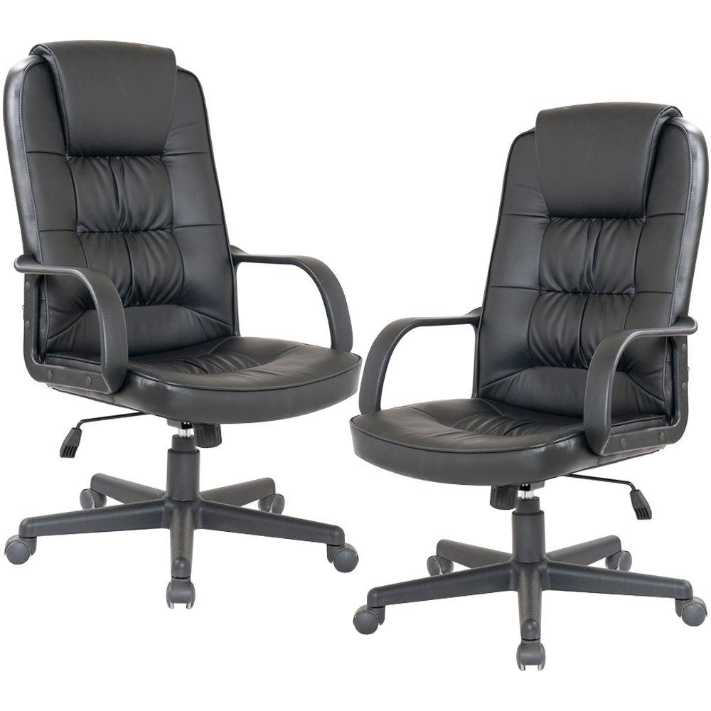 Kit 02 Cadeiras Giratórias Para Escritório Office Royal F03 Preto - Lyam Decor