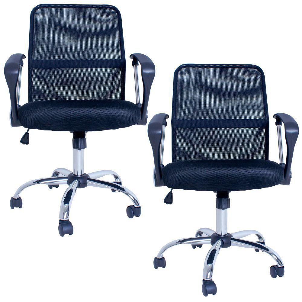 Kit 02 Cadeiras Giratórias Para Escritório Premier Office F03 Preto - Lyam Decor