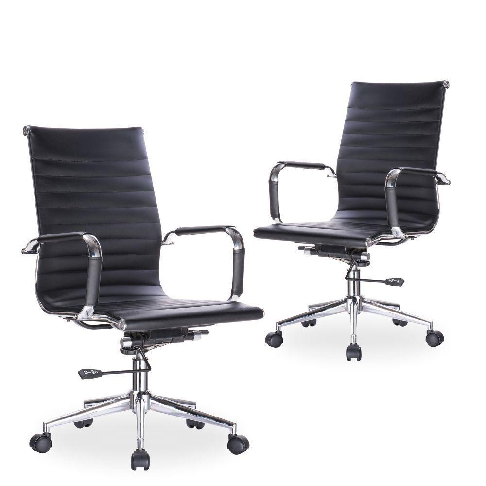 Kit 02 Cadeiras Giratórias Para Escritório Resolute Office F03 Preto - Lyam Decor