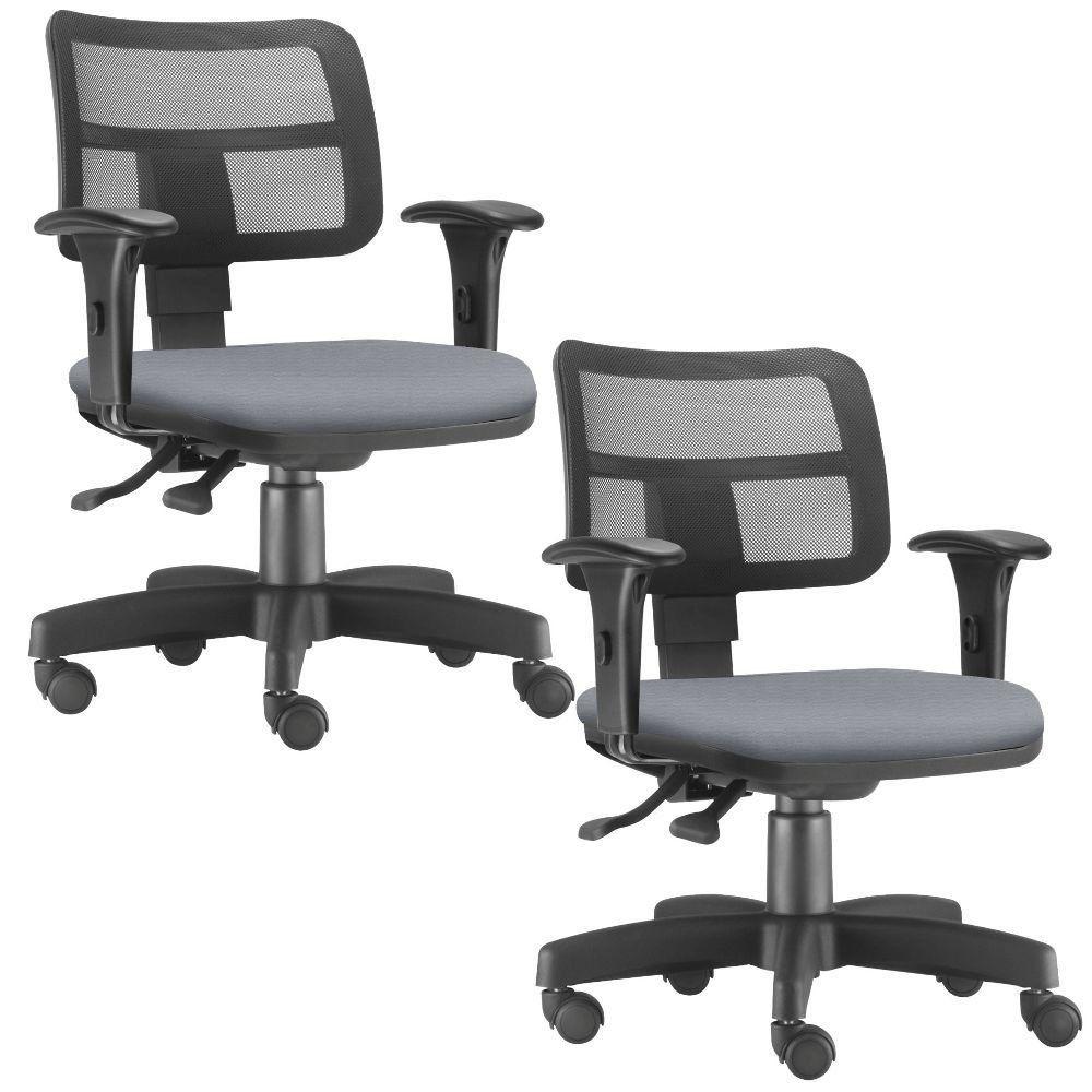Kit 02 Cadeiras Giratórias Zip L02 Executiva Ergonômica Escritório Couro Sintético Cinza - Lyam Decor