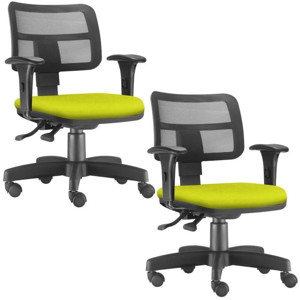 Kit 02 Cadeiras Giratórias Zip L02 Executiva Ergonômica Escritório Suede Amarelo - Lyam Decor
