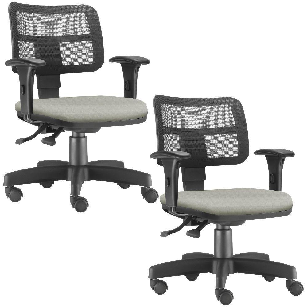 Kit 02 Cadeiras Giratórias Zip L02 Executiva Ergonômica Escritório Suede Bege - Lyam Decor