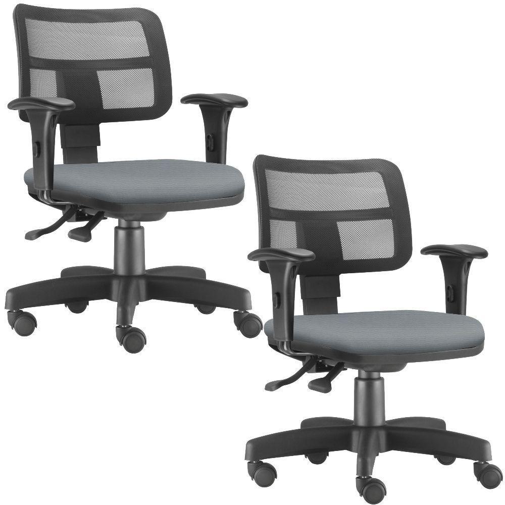 Kit 02 Cadeiras Giratórias Zip L02 Executiva Ergonômica Escritório Crepe Cinza - Lyam Decor
