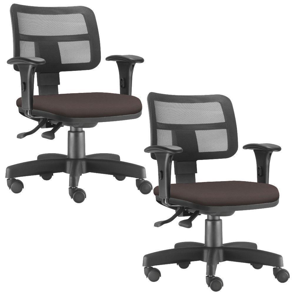 Kit 02 Cadeiras Giratórias Zip L02 Executiva Ergonômica Escritório Suede Marrom - Lyam Decor