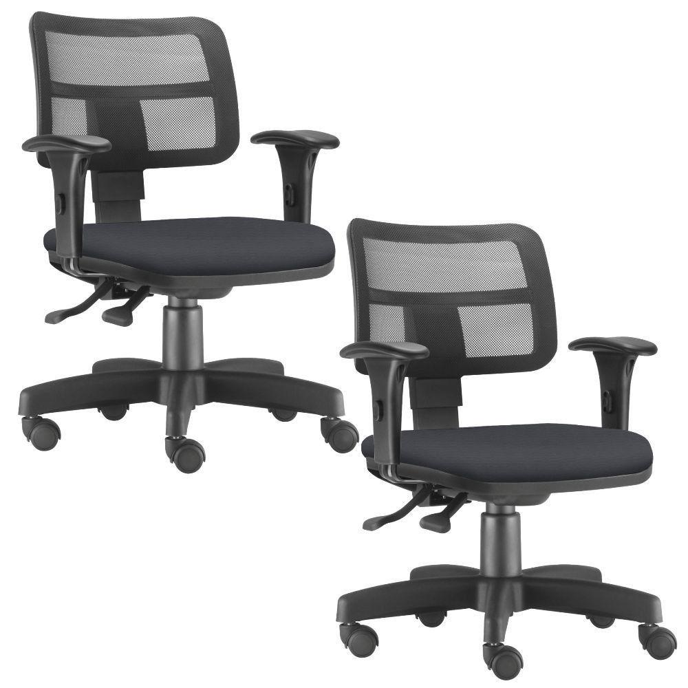 Kit 02 Cadeiras Giratórias Zip L02 Executiva Ergonômica Escritório Crepe Preto - Lyam Decor