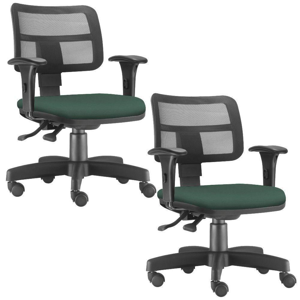 Kit 02 Cadeiras Giratórias Zip L02 Executiva Ergonômica Escritório Crepe Verde Musgo - Lyam Decor
