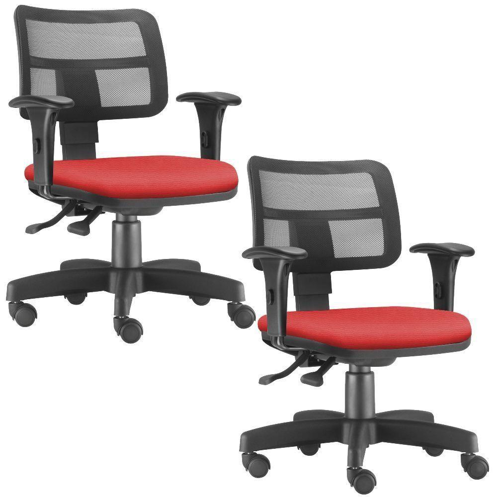 Kit 02 Cadeiras Giratórias Zip L02 Executiva Ergonômica Escritório Suede Vermelho - Lyam Decor