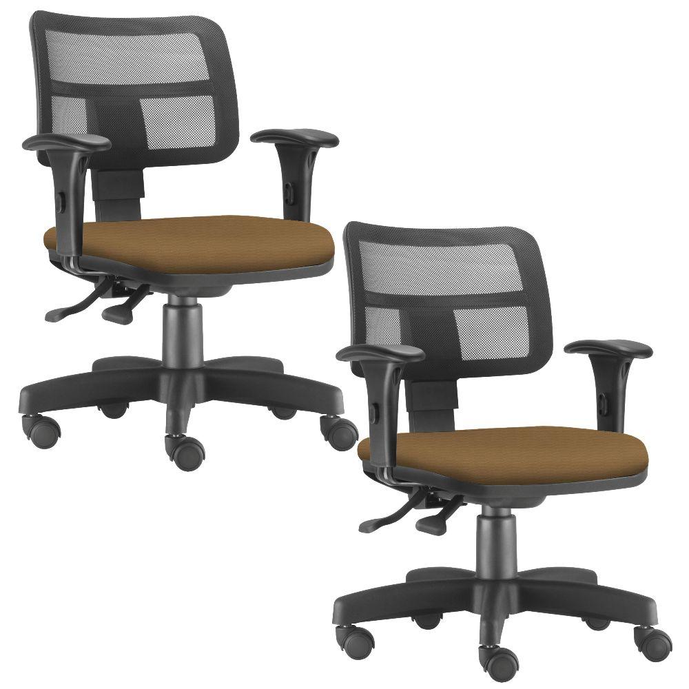 Kit 02 Cadeiras Giratórias Zip L02 Executiva Ergonômica Escritório Couro Sintético Camel - Lyam Decor