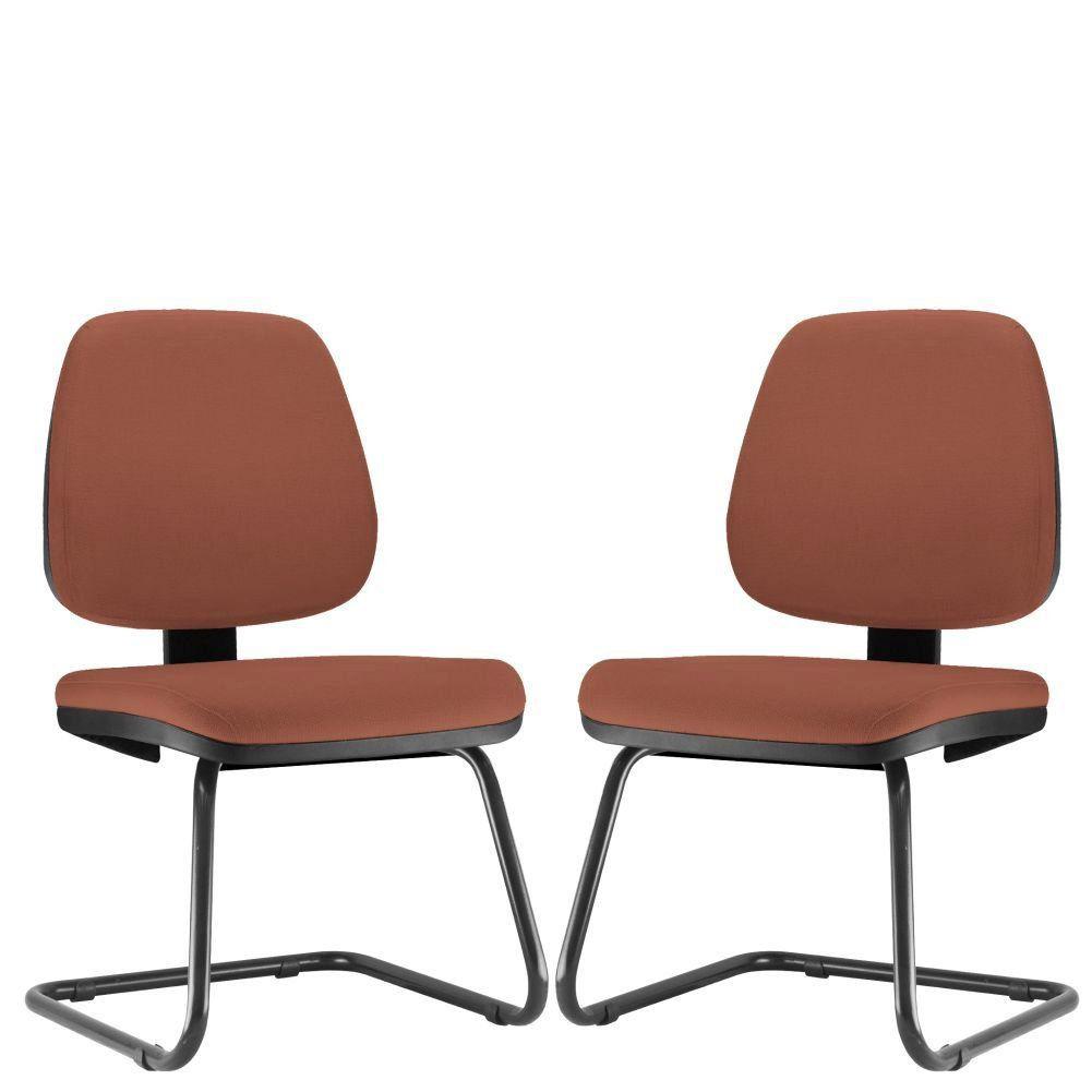 Kit 02 Cadeiras Para Escritório Job L02 Fixa Couro Sintético Camel - Lyam Decor