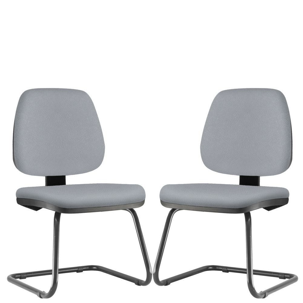 Kit 02 Cadeiras Para Escritório Job L02 Fixa Couro Sintético Cinza - Lyam Decor