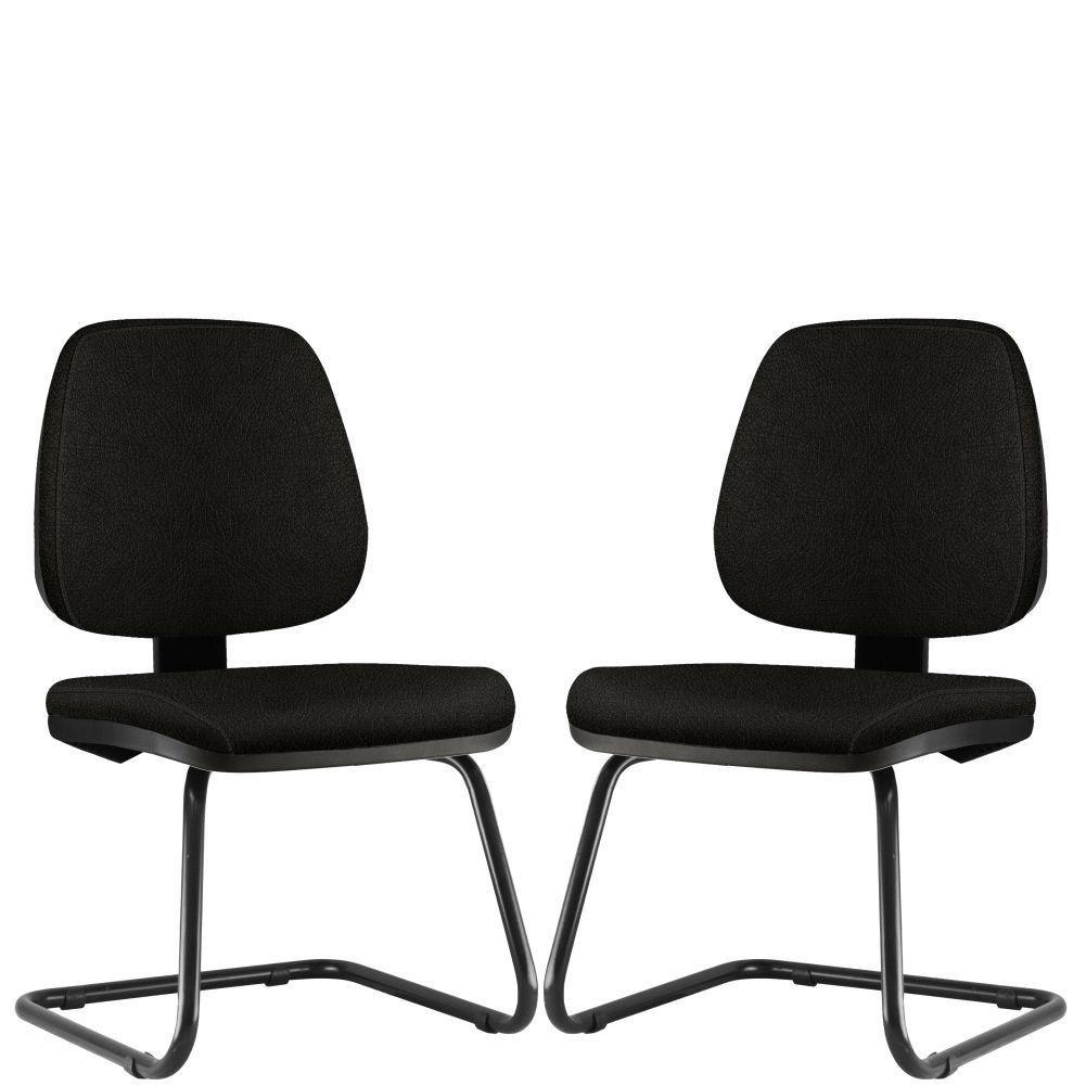 Kit 02 Cadeiras Para Escritório Job L02 Fixa Couro Sintético Preto - Lyam Decor