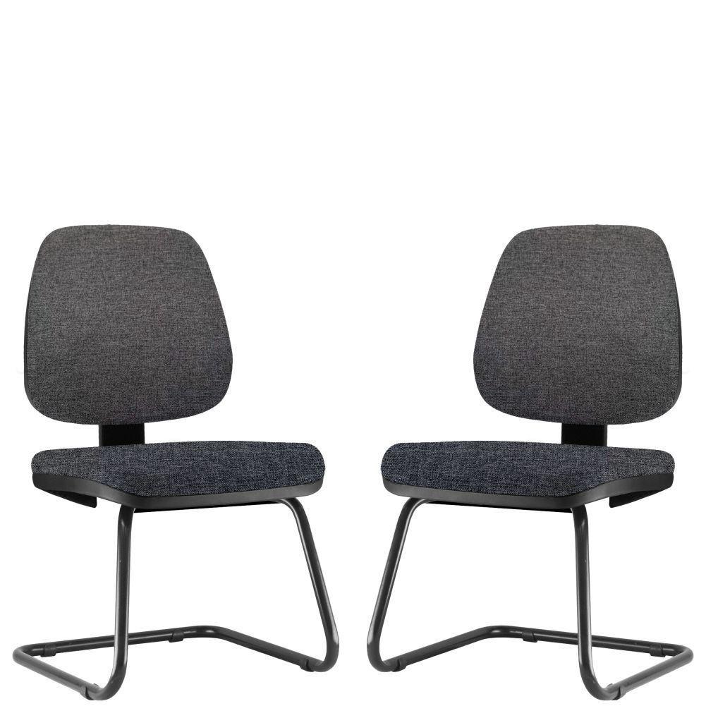 Kit 02 Cadeiras Para Escritório Job L02 Fixa Linho Chumbo - Lyam Decor