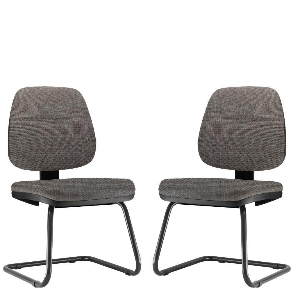 Kit 02 Cadeiras Para Escritório Job L02 Fixa Linho Cinza Escuro - Lyam Decor