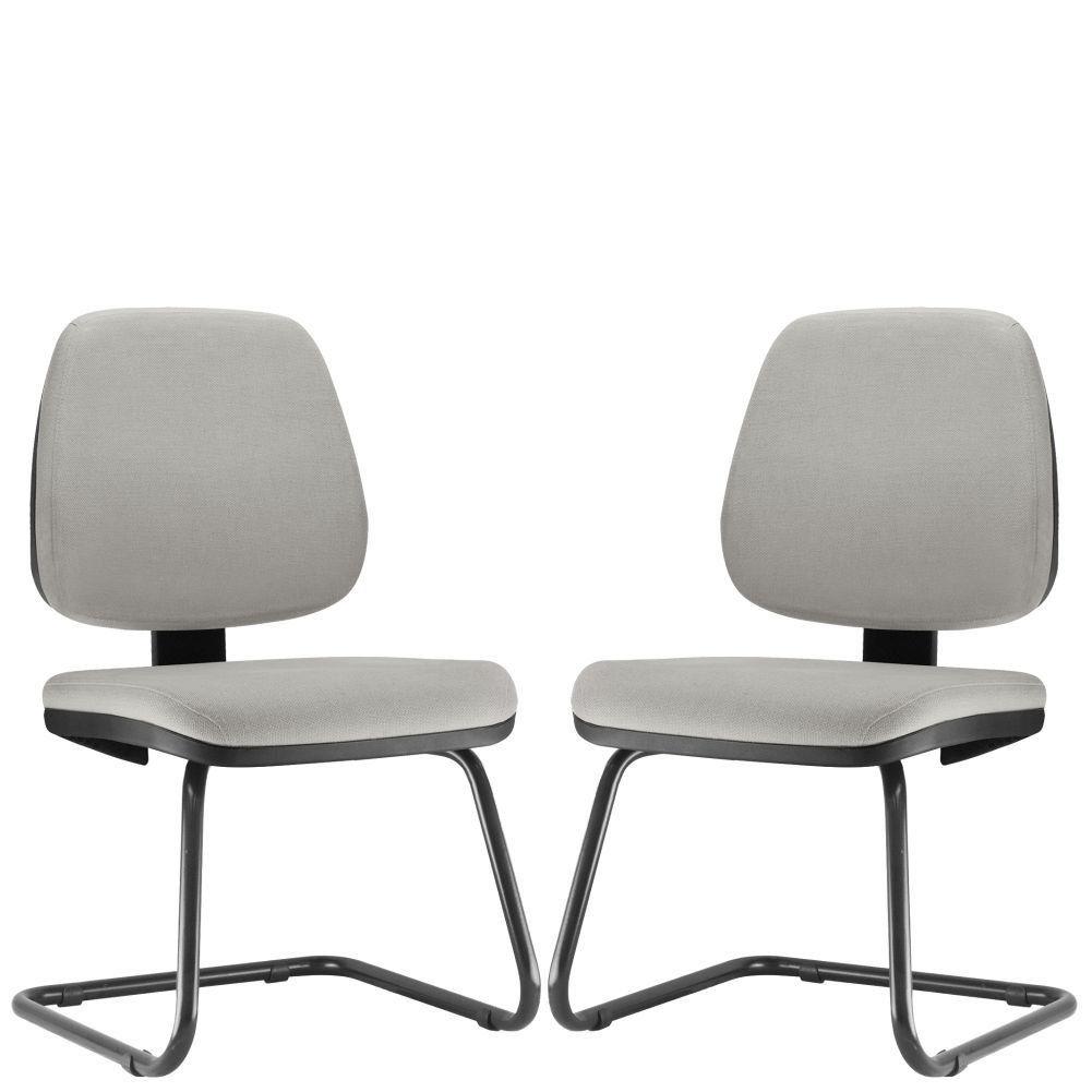 Kit 02 Cadeiras Para Escritório Job L02 Fixa Linho Cinza - Lyam Decor