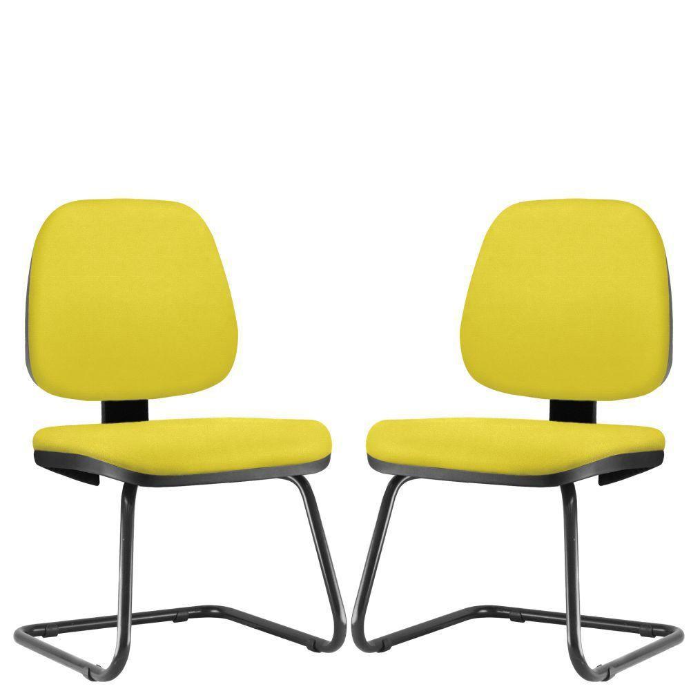 Kit 02 Cadeiras Para Escritório Job L02 Fixa Suede Amarelo - Lyam Decor