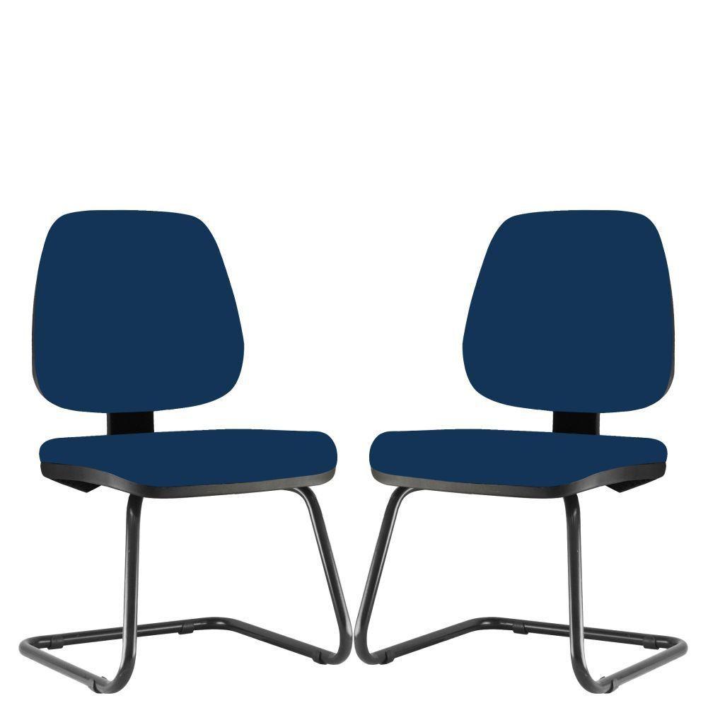 Kit 02 Cadeiras Para Escritório Job L02 Fixa Crepe Azul Marinho - Lyam Decor