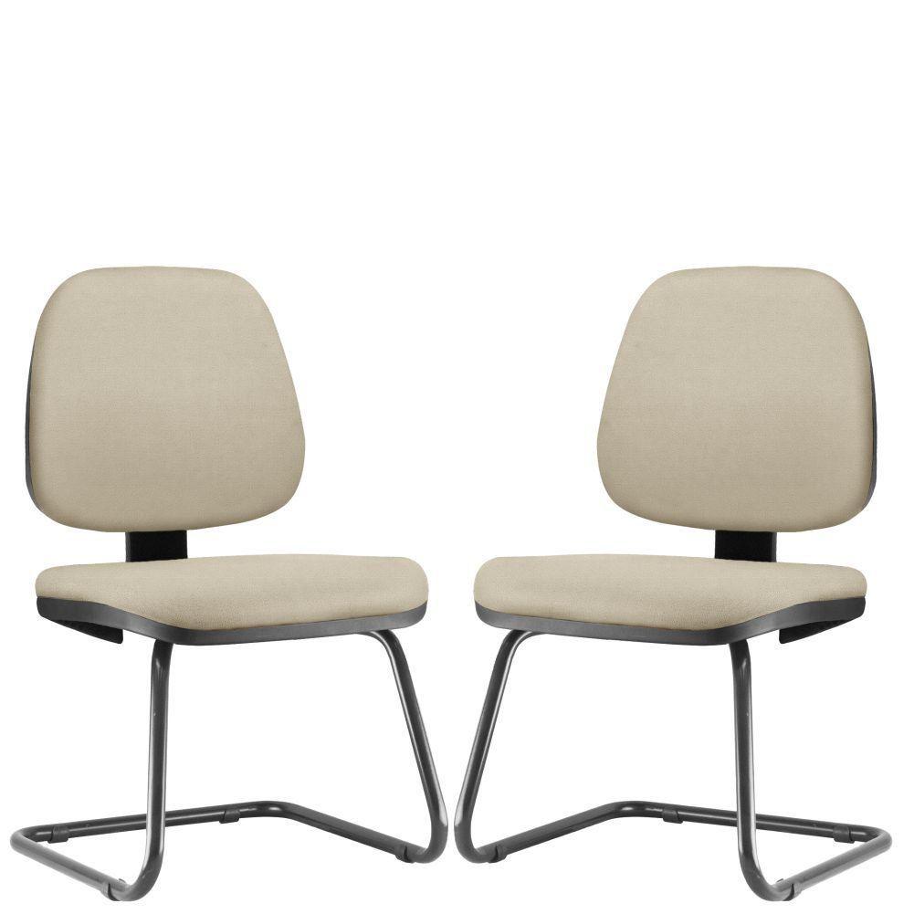 Kit 02 Cadeiras Para Escritório Job L02 Fixa Suede Bege - Lyam Decor