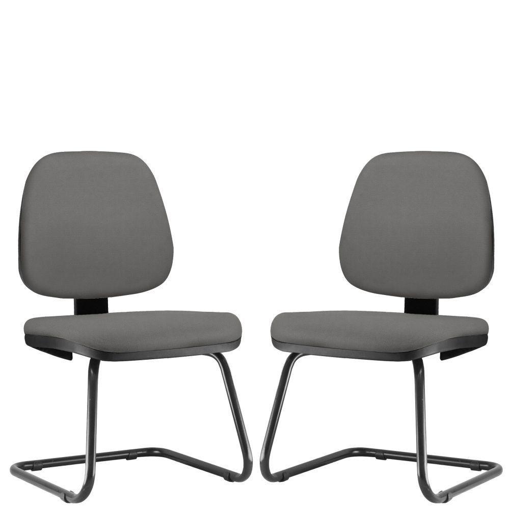 Kit 02 Cadeiras Para Escritório Job L02 Fixa Crepe Cinza - Lyam Decor
