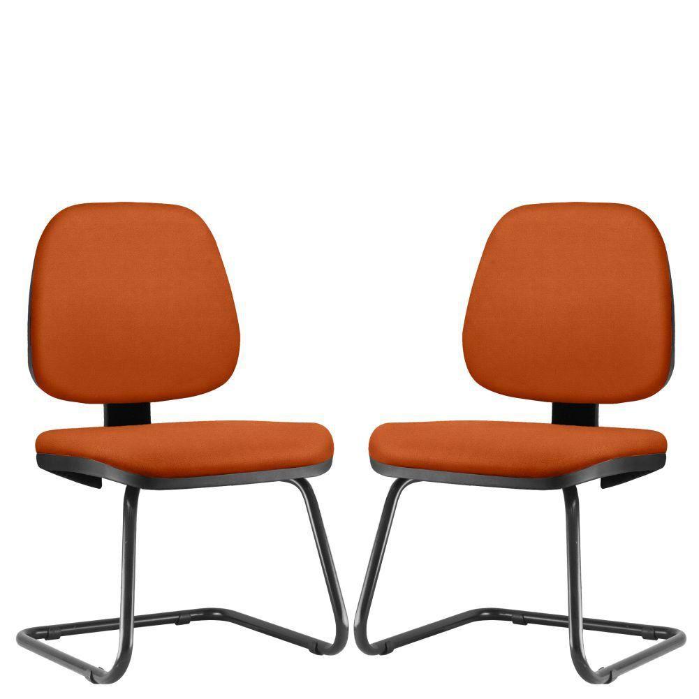 Kit 02 Cadeiras Para Escritório Job L02 Fixa Suede Laranja - Lyam Decor