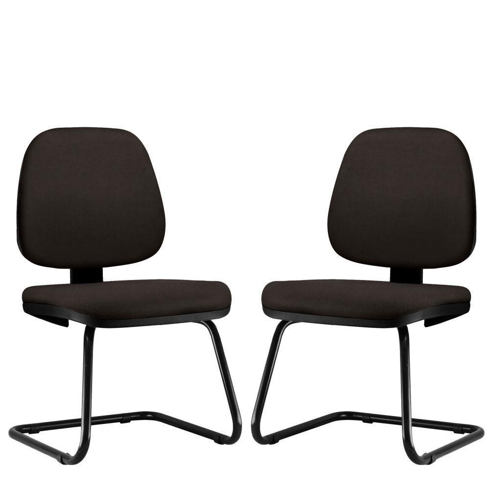 Kit 02 Cadeiras Para Escritório Job L02 Fixa Suede Marrom - Lyam Decor