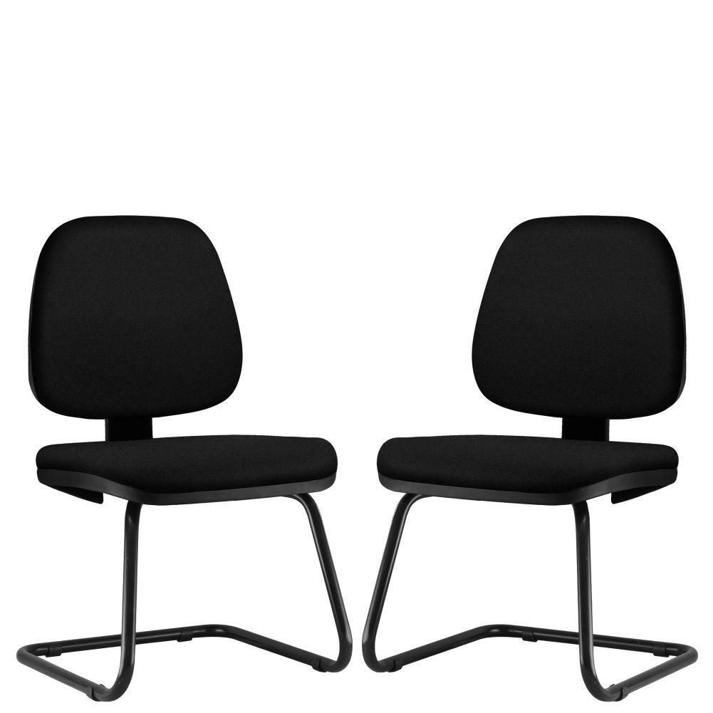 Kit 02 Cadeiras Para Escritório Job L02 Fixa Crepe Preto - Lyam Decor
