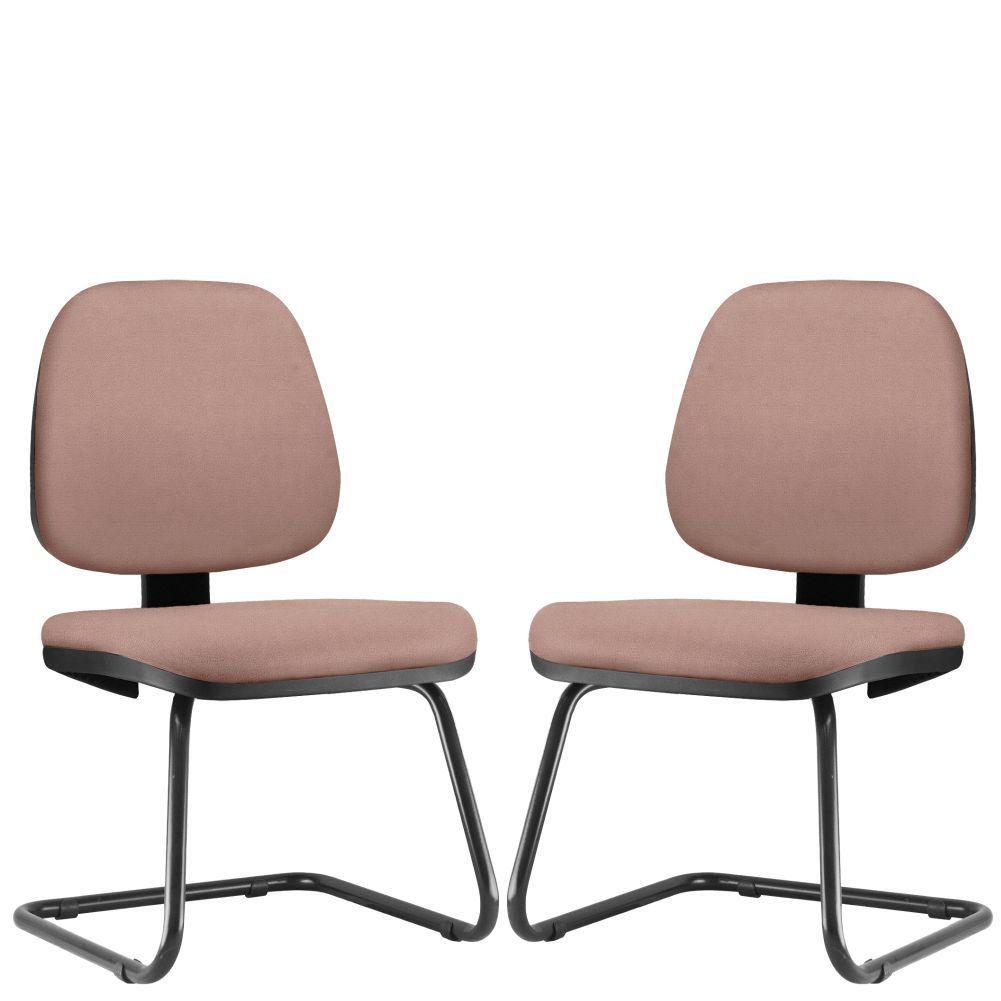 Kit 02 Cadeiras Para Escritório Job L02 Fixa Suede Rosê - Lyam Decor