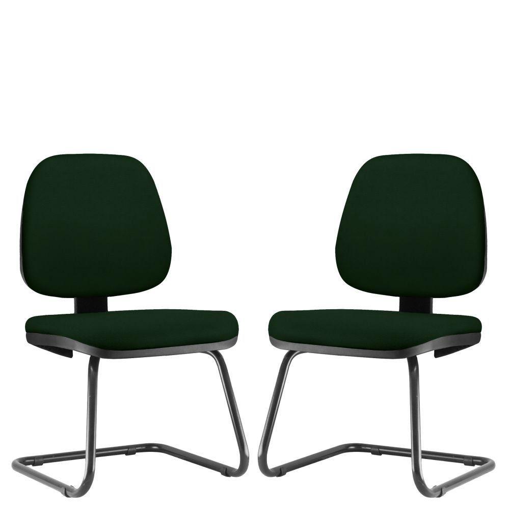 Kit 02 Cadeiras Para Escritório Job L02 Fixa Crepe Verde Musgo - Lyam Decor
