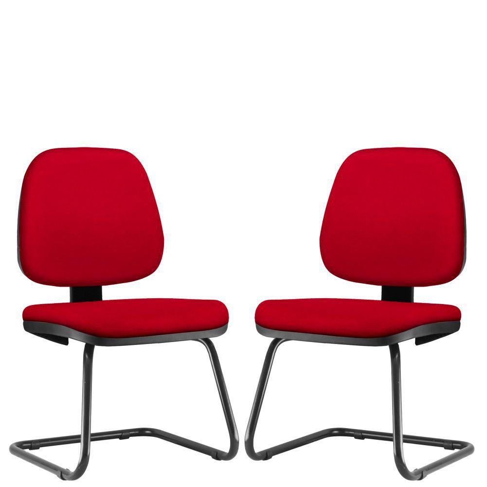 Kit 02 Cadeiras Para Escritório Job L02 Fixa Suede Vermelho - Lyam Decor