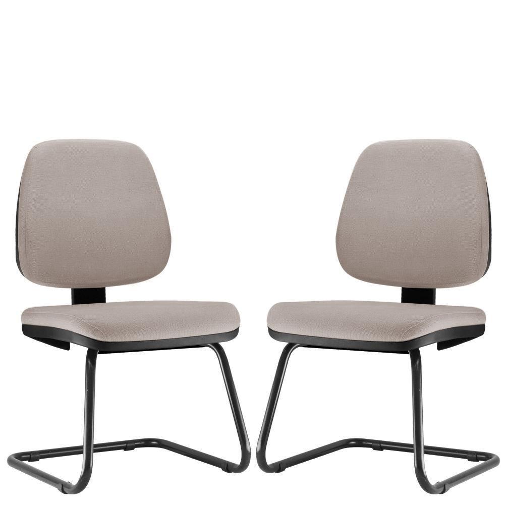Kit 02 Cadeiras Para Escritório Job L02 Fixa Linho Bege - Lyam Decor