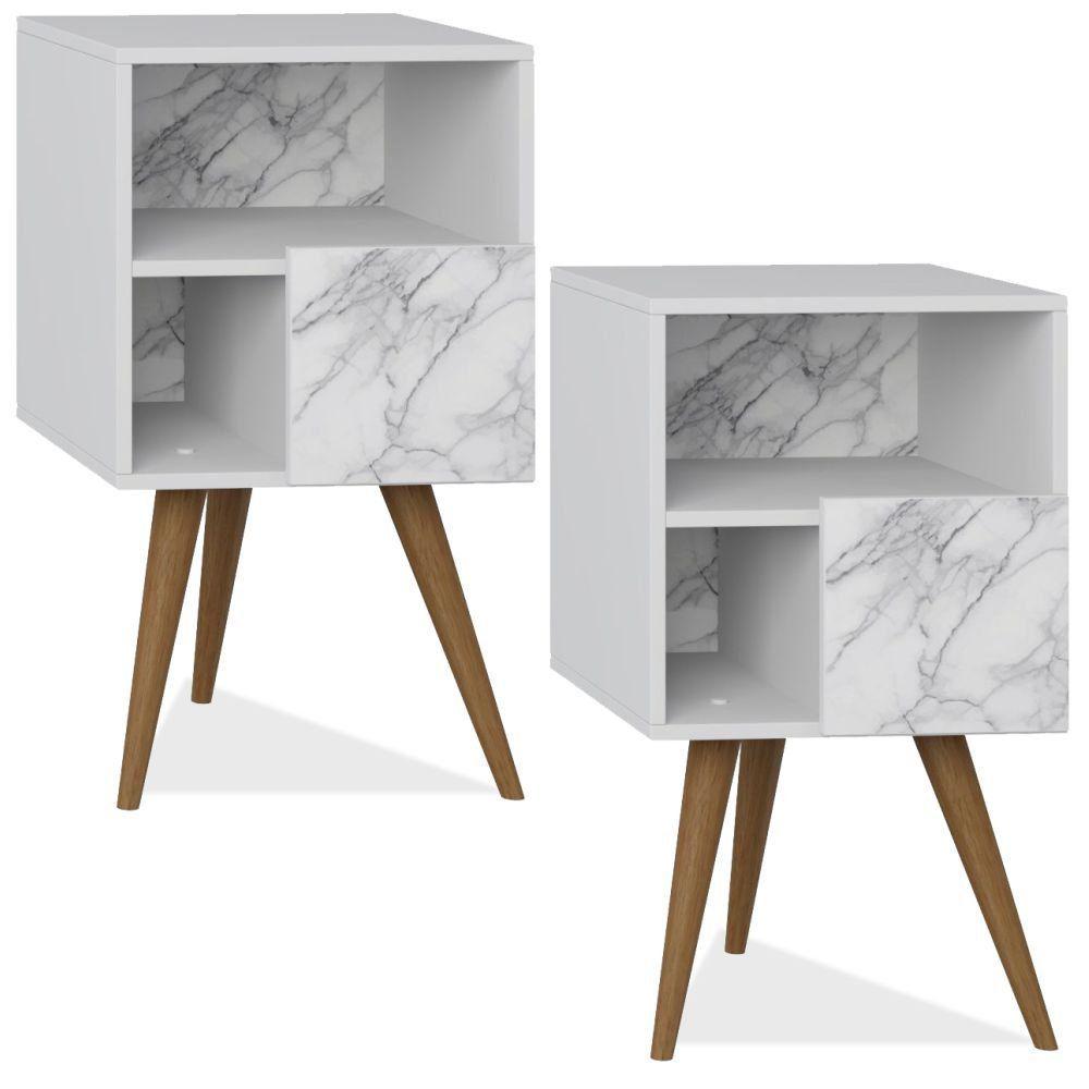 Kit 02 Mesas de Cabeceira com Porta Retrô Branco Carrara - Be Mobiliário