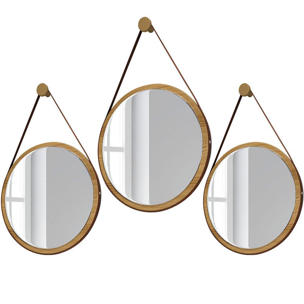 Kit 02 Espelhos Decorativo Redondo 54cm e 01 Espelho 67cm com Alça Adnet B01 Escandinavo Freijó - Lyam Decor
