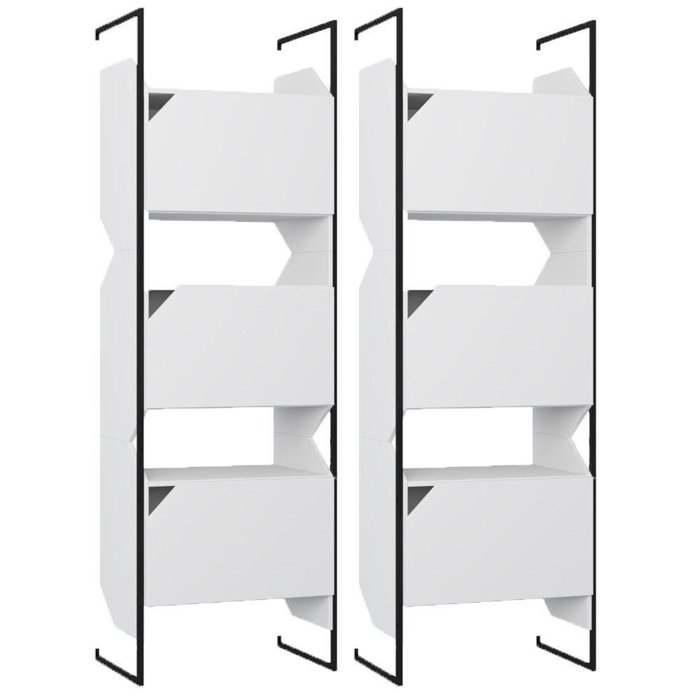 Kit 02 Estantes Triplas Com Porta E Suporte Metálico Soul Branco TX - Be Mobiliário