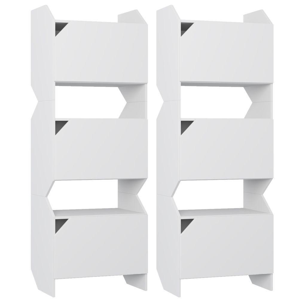 Kit 02 Estantes Triplas Com Porta Soul Branco TX - Be Mobiliário