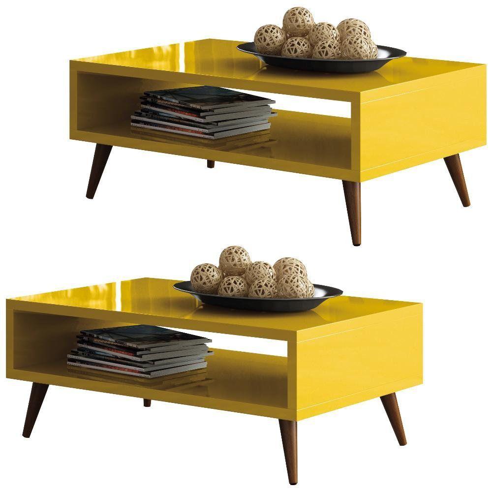 Kit 02 Mesas De Centro Decorativa Lara B01 Amarelo Pés Palito - Lyam Decor