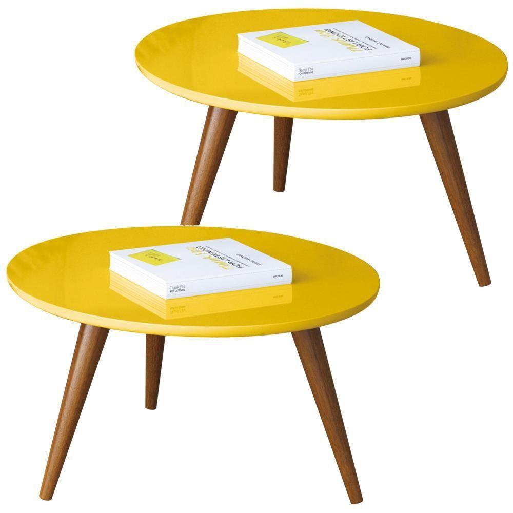 Kit 02 Mesas De Centro Decorativa Sofia B01 Amarelo Pés Palito - Lyam Decor