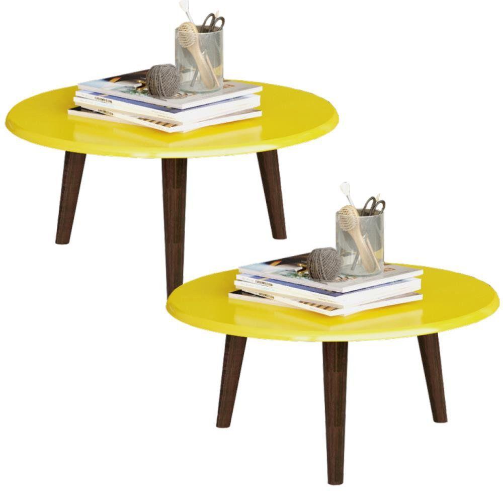 Kit 02 Mesas de Centro Decorativo B02 Amarelo Brilho - Lyam Decor