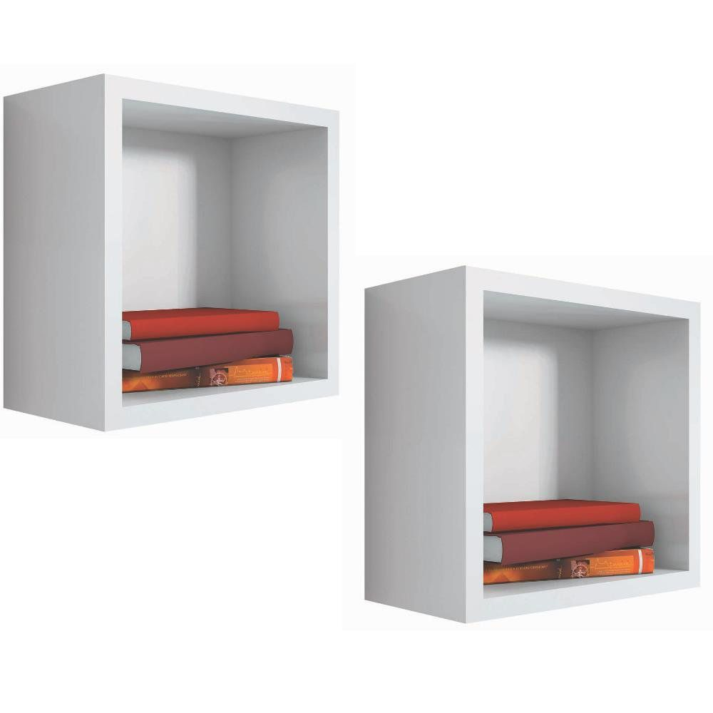 Kit 02 Nichos Quadrado Decorativo 31x31x15 S01 Branco - Lyam Decor