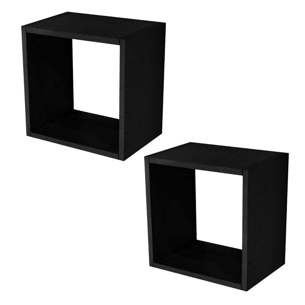 Kit 02 Nichos Quadrado Decorativo 31x31x15 S01 Preto Fosco - Lyam Decor