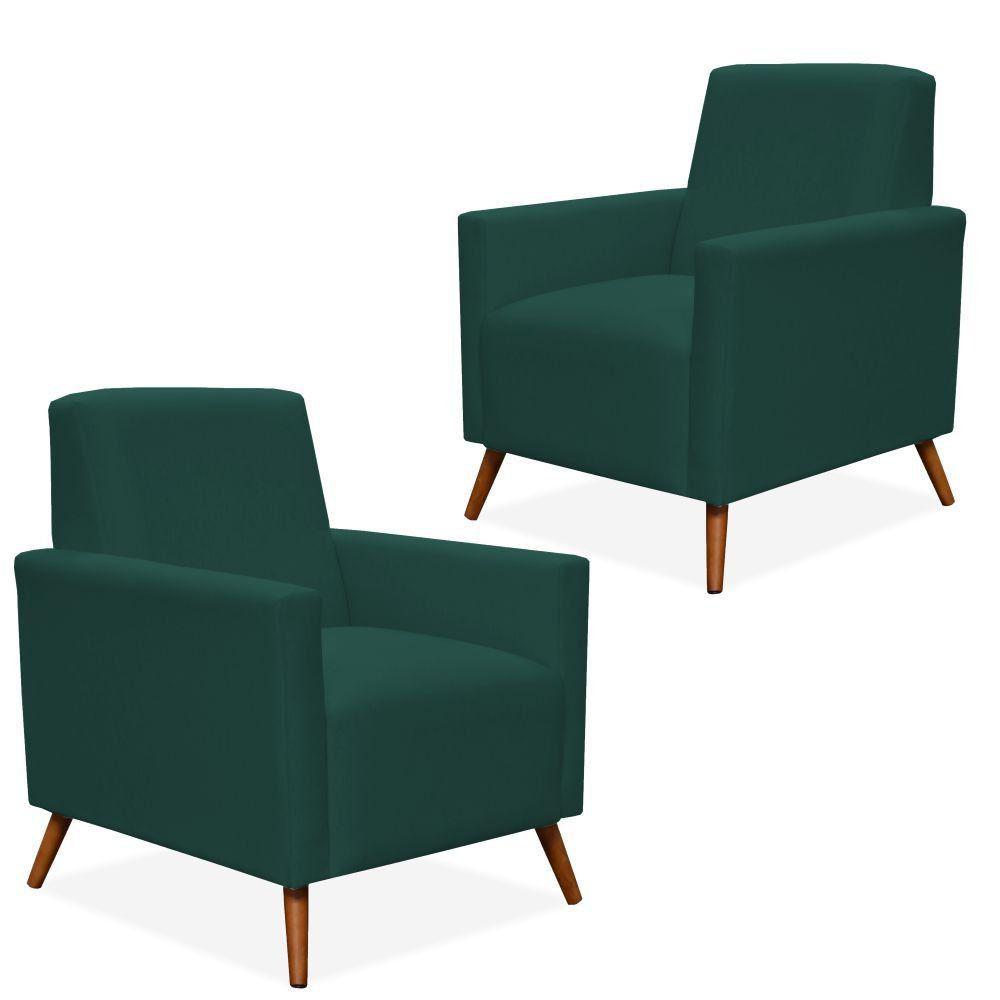 Kit 02 Poltronas Decorativa Para Sala de Estar Pés Palito Liz P02 Suede Verde Musgo - Lyam Decor